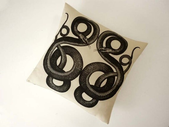 Vipers silk screened cotton canvas throw pillow 18 inch black