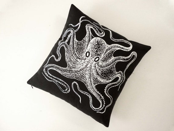 Vintage Octopus silk screened cotton canvas throw pillow 18 inch white on black