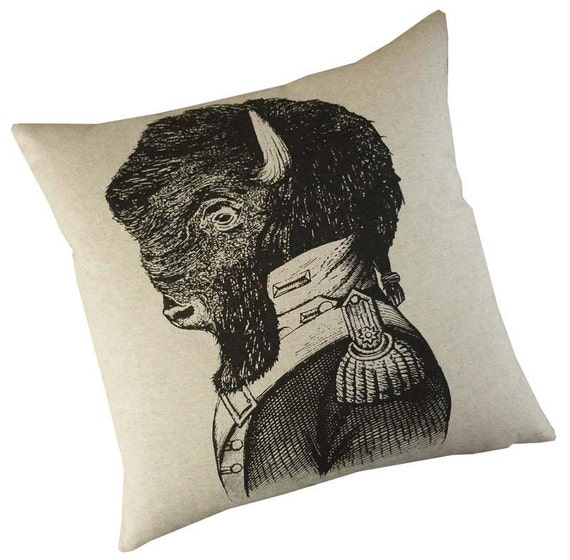 Buffalo Bison silk screened cotton canvas throw pillow 18 inch black