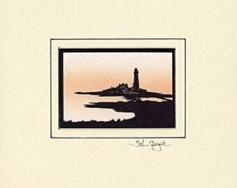 St. Mary's Island (Whitley Bay UK) Hand-Cut Papercut