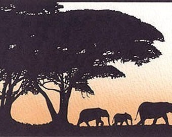 Elephants Hand-Cut Papercut