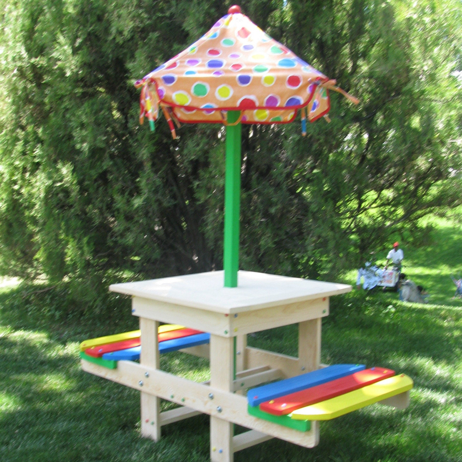 Picnic Table Umbrella : Kids Picnic Table with Working Umbrella by ForeverAfters on Etsy