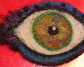 Witchy Woman GREEN EYE - needle felted creation -OOAK-