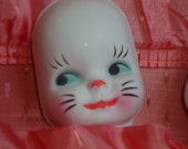 3 Adorable Vintage Plastic Kitty/ Bunny/ Doll Faces for Altered Art, Collage or Kitty Dolls