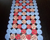 YOYO  table runner in red and blue denim look measures 34x14