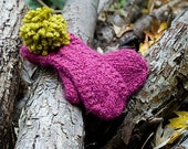 Tomato Red  Cable Knit Mittens With Removable PomPoms in Contrasting Colors