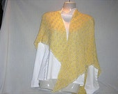 Pale Yellow and Pearls Knitted Shawl