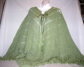Moss Green Knitted Poncho