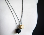 BLOCK -Faceted Wooded Cube Charm Necklace