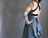 COLR BLOK - Reclaimed Mens shirt Tunic Tank in Blue n Black