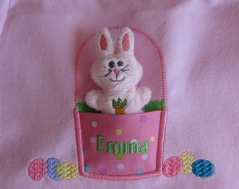 ADORABLE Easter Bunny with Applique Easter Basket -Machine Embroidery Design