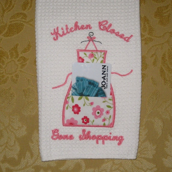 Kitchen Closed Gone Shopping Applique Machine Embroidery