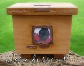 "Custom cremation Urn for Claudia with ""J"" Monongram and Digital Art Photo"
