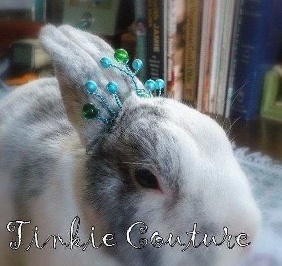 Turquoise Blue Tiara for Bunny with Green Glass Beads