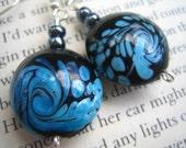 Black and Blue Ocean Swirl Earrings