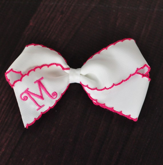 """5"""" Monogrammed Hair Bow with Moonstitch Grosgrain Ribbon"""