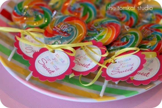 PRINTABLE FAVOR TAGS - Yummy Lollipop Party Collection - DIY by The TomKat Studio
