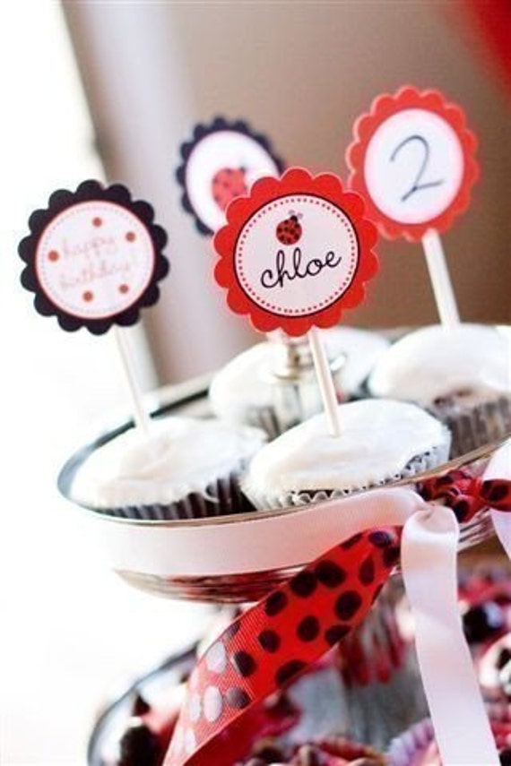 PRINTABLE PARTY CIRCLES - Little Ladybug Birthday Collection - DIY by The TomKat Studio