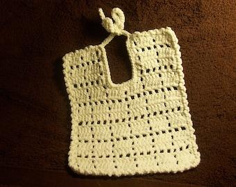 Dainty Filet Crochet Baby Bib