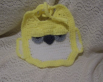 Sleepy-Eyed Hoot Owl Baby Bib in Yellow