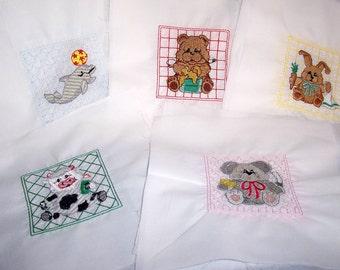 Machine Embroidered Quilt squares/blocks Cuddly Animal designs