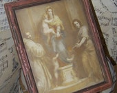 Vintage Madonna of the Harpies by Andrea Del Sarto...Art Print...circa 1939...Old Print...Religious Picture....St. Francis...Angels