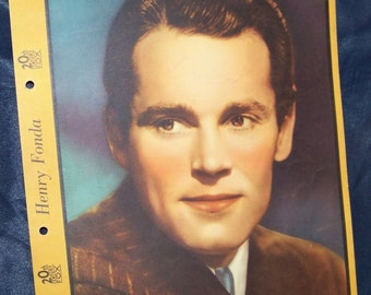 Vintage Henry Fonda Color Tinted Photo-Dixie Ice Cream Premium-Color Photograph-circa 1940s-Biography and Filmography-Advertising