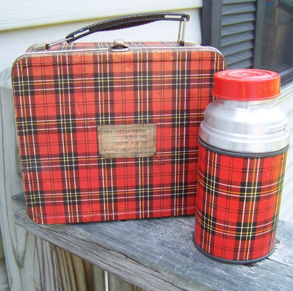 Vintage Mid Century Plaid Lunchbox and Aladdin Thermos