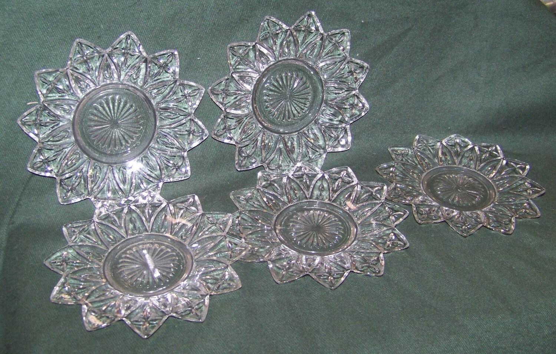 Vintage Set Of 5 Star Shaped Glass Dessert Plates By Alloftheabove