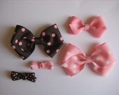 Brown and Pink bow set