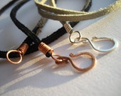 Custom Order Leather Cords with Copper or Silver Coiled Clasps
