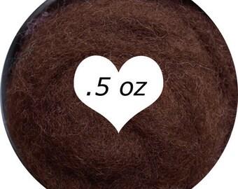 Dream Felt Premium Wool Batt Norwegian C1 Needle Felt Dark Brown .5 oz.