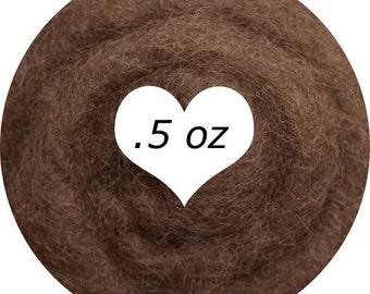 Dream Felt Premium Wool Batt Norwegian C1 Needle Felt  Dark Flesh Light Brown .5 oz.