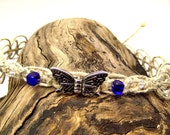 Cobalt Blue Glass Cubes and Silver Metal Butterfly on Natural Hemp Necklace - WAS 20.00