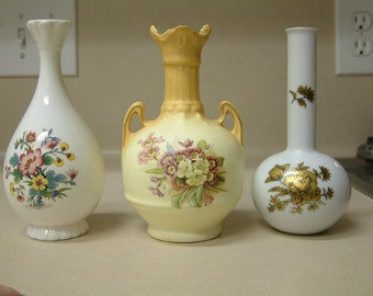 Nice Group of Three Bud Vases with Coalport Ming Rose