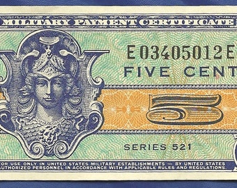 Military Pay Certificate MPC Series 521 5 Cents CU Crisp Uncirculated