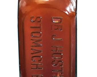 DR J HOSTETTERS Stomach Bitters Amber Bottle