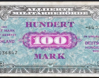 Allied Military Currency Germany 100 Mark 8 digit serial P197d AMC