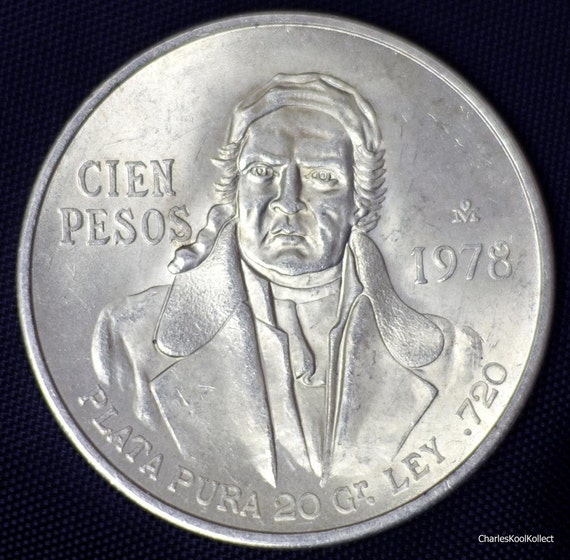 Mexico 100 Pesos 1978 Silver Coin 0 6428 By Charleskoolkollect