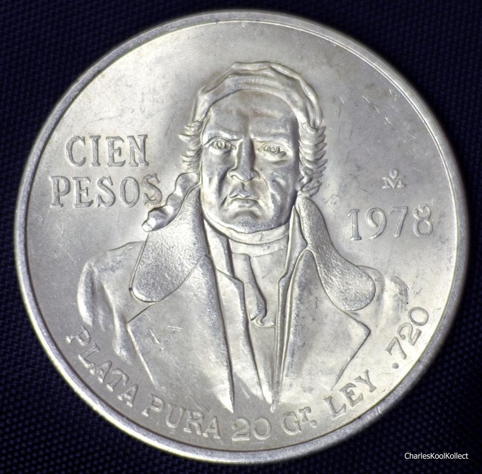 Mexico 100 Pesos 1978 Silver Coin 0 6428 Asw 4