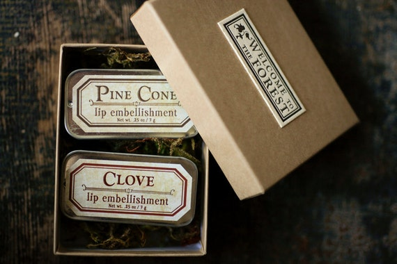Lip Balm Gift Set - Choose Two lip balm tins - Welcome to the Forest™ - Pine Cone, Clove, Rosewood, Poison ivy - organic and natural flavors