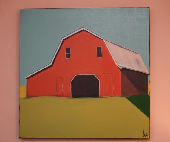 Large Colorful Contemporary Original That RED Barn ART Acrylic Painting Lime Aqua