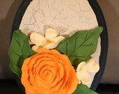 Polymer clay rose plaque