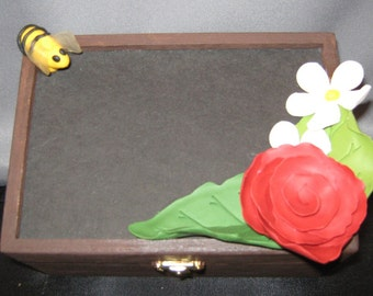 polymer clay flowers blackboard box