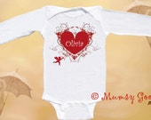 Personalized Valentine Romper Long Sleeve Rompers by Mumsy Goose Newborn baby bodysuits to Toddlers