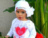 Personalized Valentine Onesie Long Sleeve Onesie with Infant Beanie Hat by Mumsy Goose Newborn to Toddlers