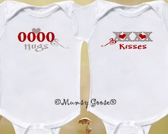 Funny Twin Valentine Rompers or Sibling Shirts by Mumsy Goose  Newborn Creepers to Kids Tees