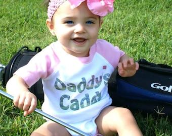 Funny Girl Romper Golf Romper Daddys Caddy Pink Raglan sleeve Newborn Rompers to Kids Tees