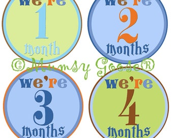 Twin Boy Monthly Age Baby Boy Stickers Modern Twin Boy 12 Montlhy Baby stickers