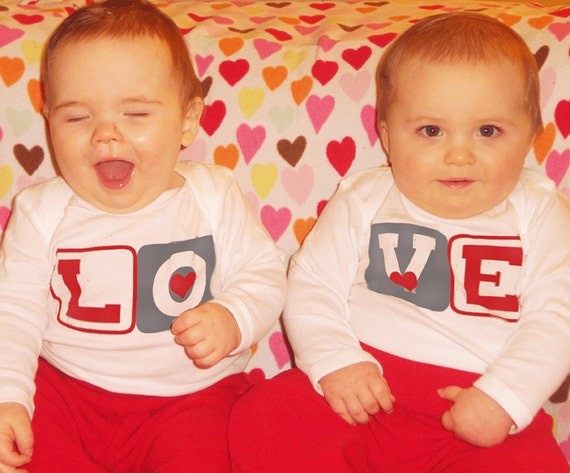 Sweet Twin Rompers long sleeve baby Bodysuits Valentine Rompers by Mumsy Goose Twin Valentine Outfits